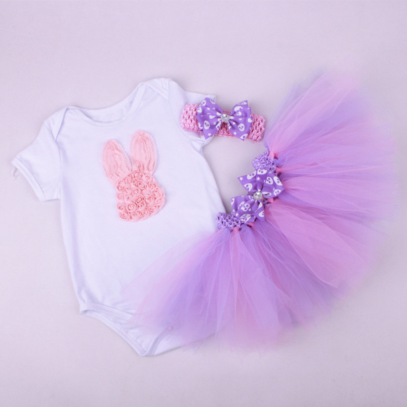 Wholesale 3pcs/lot Baby girls 3pcs sets:baby rompers + tutu dress+headband baby girls clothes kids clothing sets<br><br>Aliexpress