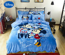 Blue Mickey Minnie Mouse 3D Printed Flannel Bedding Set Twin Full Queen Size Bed Covers Children's Babys Bedroom Decor Soft Warm(China)