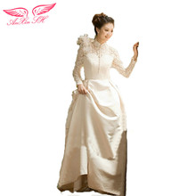 AnXin SH Spring bridal wedding dress Korean long sleeve lace wedding dress princess lace wedding dress spring new ZL1039