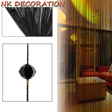 NK DECORATION Romantic Black Beads Design Crystal Curtain String Door Window Curtain Divider Partition Tassel Decor(China)