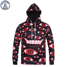 Mr.1991INC 2017 Fashion Brand Clothing Hoodie Women Men 3D Hooded Print Cartoon Red Eyes Sweatshirts Tops Hip Hop Pullover