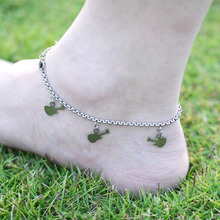 DIY 316L Stainless Steel Anklet Chain with Small Guitar Charms Stainless Steel Ankle Bracelet Foot Jewelry A012