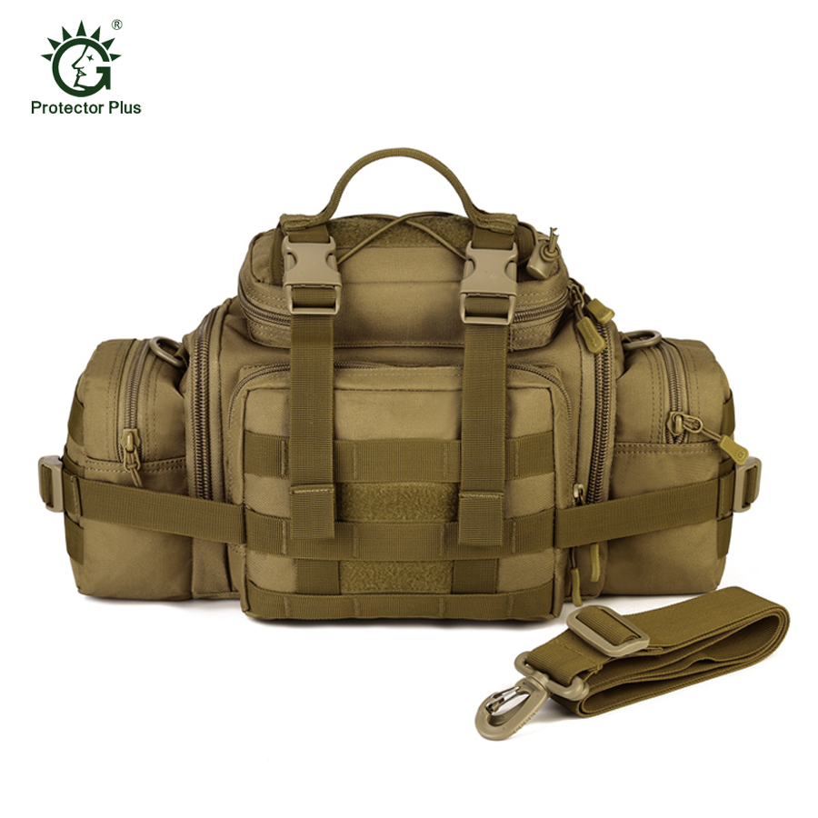 Protector Plus Multifunction Outdoor Large Capacity Sports Shoulder  Bag Crossbody Handbag Military Black Tactical Bag militari<br>