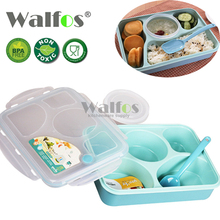WALFOS 5 Blocks Lunch Box Kids Food Container Soup Cup Spoon Microwaveable Disposable Tableware Bento Lancheira Dinnerware Set