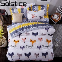 Solstice Home Textile Cartoon Fox 3/4pcs Bedding Sets Children's Beddingset Bed Linen Duvet Cover Bed Sheet Pillowcase/bed Set(China)