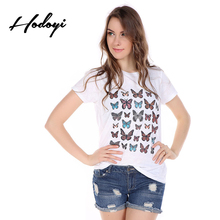 Hodoyi Apparel Butterfly Printed Women T-shirt Casual Crew Neck Female Tees Short Sleeve Loose Streetwear Female Tees