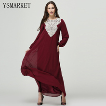 2017 New Dubai Design Abayas Women Chiffon Applique Muslim Caftan Islamic Dress Turkish Traditional Dress Plus Size XL-7XL S9040
