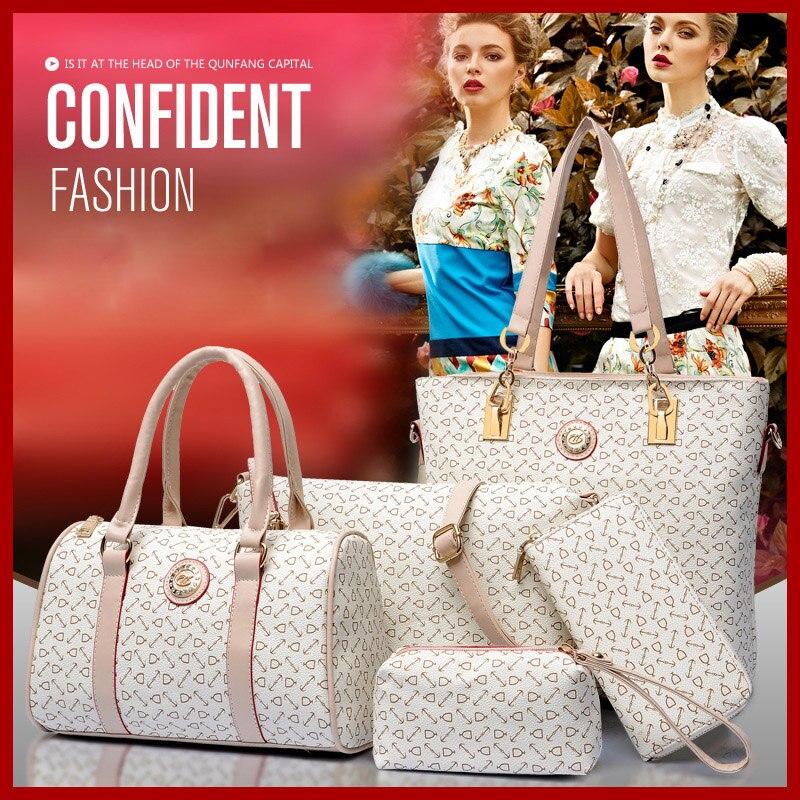 Wholesale 2015 women fashion high-grade leather shoulder bag handbags women messenger bags print purses 6 pieces/sets bolsas<br>