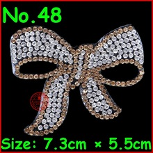 1 pcs/Lot Gold bow-knot Patches hotfix rhinestone iron on rhinestones Crystal motifs applique for children women clothes patch