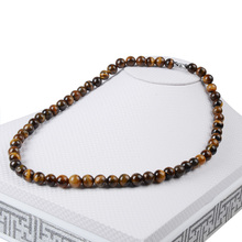 Chanfar 13Colors Hot 45cm Natural Stone Lava Tiger Eye Beaded Choker Necklace For Women Men Jewelry(China)