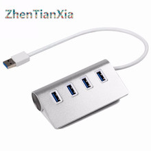 High Speed 4 Ports USB 3.0 Hub Portable Aluminum Hub USB Splitter New for Apple Macbook Air PC Laptop (No External Power Supply)