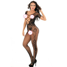 Buy Feitong Women Open Crotch Bodystockings Perspective Print Underwear Fishnet Pajama New Sexy Lingerie Hot Black Lace Spliced 2017