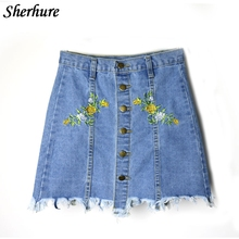 Buy 2018 New Summer Women Skirts Flower Embroidery High Waist A-Line Women Sexy Denim Skirts Female Summer Mini Skirt Saia Faldas for $14.58 in AliExpress store