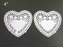 4 inch White Lace Heart shape Paper Doilies Pad Doily for Cookie Cake Biscuit Place mat(China)
