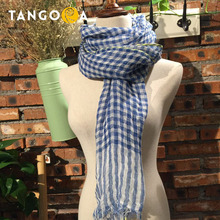 Plaid Linen Women Scarves 2017 Woman Spring Plaid Tassel Scarf 65x180CM Summer Brand Pashmina Shawls Hijabs SS(China)