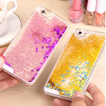 Cases For iphone 5 5s SE 6 6s 6plus 6sPlus Liquid Glitter Meteor Sand Sequins Colorful Dynamic Transparent Hard Mobile Protect