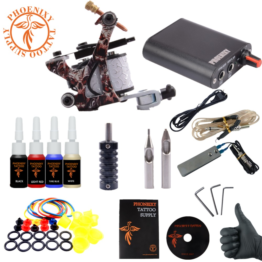New Complete Tattoo Machine Set 1 Coils Guns 4 Colors Black Pigment Sets Power Tattoo Beginner Kits Permanent Makeup Tattoo Kit(China (Mainland))