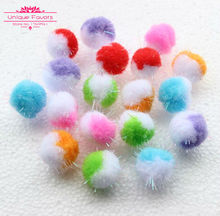 200pcs Kawaii Multicolor 23mm Iridescent Tinsel Pompom Ball Craft Ornament Glitter Sparkle Pompom Craft Ball Wedding Decor Craft