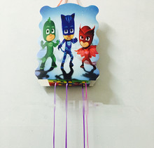 1pc 40*30cm PJ Masks paper folding Pinata Cartoon 6 people play game Pinata Kid Boy Birthday Party supplier