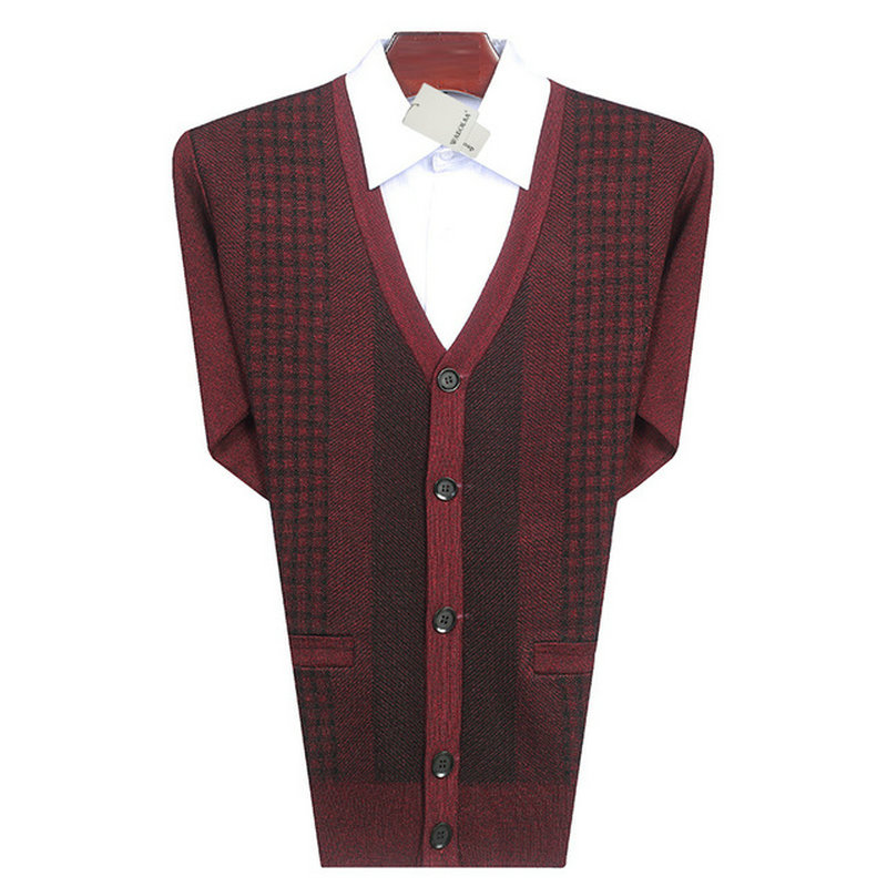 Men Casual Cardigan Sweaters Purplish Red Gray Glen Check Knitted Tops Man V-neck Knitwear Male Cashmere Wool Cardigan Sweaters