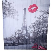 Cityscape Grey Paris Eiffel Tower Red Lip Design Pattern Waterproof Polyester Bath Curtain with 12 Plastic Buckles For Bathroom