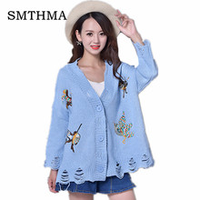 SMTHMA Spring Cardigan Women Embroidered bird Single-breasted Button Long Sleeve Knitted Outerwear Female Tricot hole Sweaters