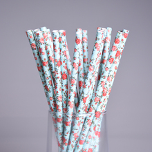 25pcs Flower Garden Paper Straws Party Decor Cake Pops Floral Vintage Kids Birthday Party Wedding Baby Shower Drinking Straws