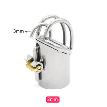Buy PA puncture male chastity device cock cage lock bird bondage penis sleeve sex toys men stainless steel metal chastity cage