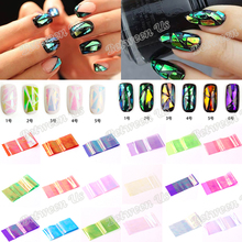 Hot Sale 18 Different Colors/Set New Broken Glass Pieces Mirror Foil Tips Stencil Decal Nail Art Sticker Cute Manicure DIY Tools