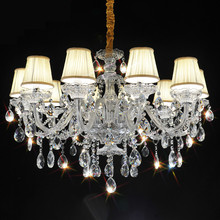 Large modern chandelier light fixtures Dining room Kitchen 10 Arm K9 Crystal lamparas de techo pendant chandelier with Lampshade
