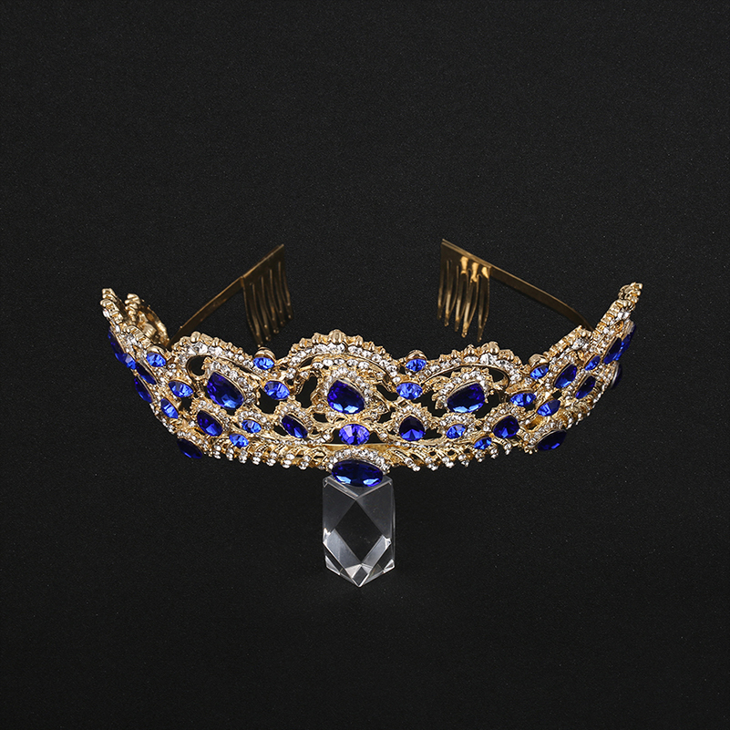 KMVEXO European Drop Green Red Crystal Tiaras Vintage Gold Rhinestone Pageant Crowns With Comb Baroque Wedding Hair Accessories 13