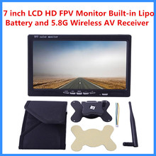 2016 7 Inch LCD HD FPV Monitor Built-in Lipo Battery W/ 5.8G Wireless AV Receiver with sun shade Hood For 7inch Screen 5.8Ghz 7""