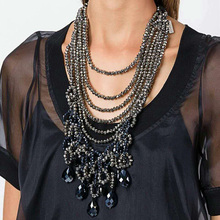 Luxury Black Crystal Layers Necklaces & Pendants Statement Tassel Chunky Chains Gold-Silver Vintage Choker JURAN Jewelry