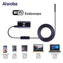AIWOBA 8mm Lens Waterproof WIfi Endoscope Camera 1M Cable Car Inspection Borescope Camera Endoscope For IOS Android PC Tablet(China)