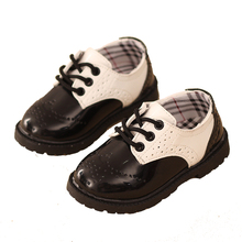New Bullock Classic Children's Shoes Fashion Black White Martin Boots Boys Girls Spring Autumn Kids Leather Shoes School uniform(China)