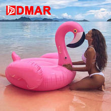 DMAR Inflatable Flamingo Giant Pool Float 150CM Swimming Ring Beach Sea Toys Inflatable Mattress Mat Circle Water Party Game