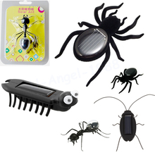 5pcs/lot Solar Spider / Cockroach / Grasshopper / Ant / Solar Multi Foot Worm Robot Scary Insect Gadget Trick Solar Toy For Kids