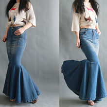 Nueva moda Primavera otoño vaquero cola de pez Falda Mujer Vintage Slim  paquete cadera azul Jeans falda Stretch faldas largas de. 03f1ba318604