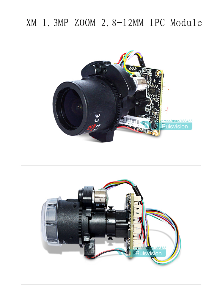 XM HD 1.3MP/720P IPC 2.8-12mm Motorized Zoom &amp; Auto Focal LEN 1/3  CMOS  CCTV IP camera module board +LAN cable free shipping <br>
