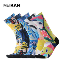 MEIAKN 5Pair/lot Men 3D Printed Socks Coolmax Compression Sport Cycling Socks Brand Cotton Winter Ankle Pattern Running Socks(China)