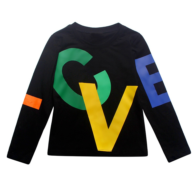 COOTELILI 80-130cm Black T-Shirt Children Tops Letter Kids Clothes Long Sleeve T Shirt Toddler Boys Spring Clothing Costume (3)