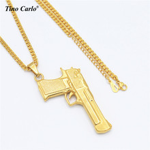 Tino Carlo New Arrive Stainless Steel Gold Color Pistol Necklace Handgun Hip Hop Army Jewelry R&B Necklace Men Club Necklace