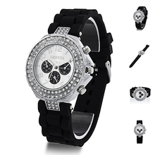 Hot Candu Colors Silicone Crystal Quartz Watch Ladies Women Jelly Wrist Watch Versicolor 4ZPX(China)