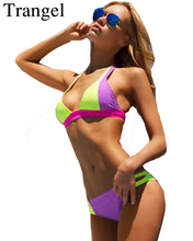 Trangel bikini mulheres Sexy swimsuit Patchwork Neon Biquíni Define As Mulheres Swimwear Bandage Swimsuit Push Up top Cut Out