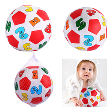 1PCS Hot Selling Baby Early Education Football PVC/Sponge Alphabet Number Learning Ringing Toy Ball Outdoor Fun Sports Toy