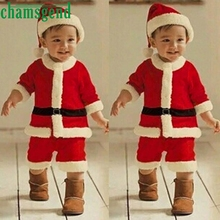 Boy's Christmas wear long sleeve belt Toddler Kids Baby Boys Party Clothes Costume T-shirt+Pants+Hat Patchwork Outfit p30(China)