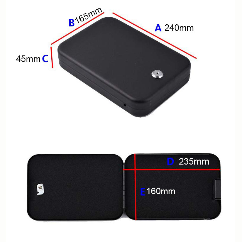 Security Safes Key Lock Portable Car Safe box Handgun Valuables Money Jewelry Storage box strongbox Cold-rolled steel sheet (110)