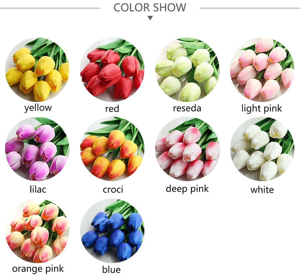 1pc PU Tulip Artificial Flowers Mini Tulip Flower Real Touch Wedding 10 Colors Fake Flowers Tulips For Home Decoration_02