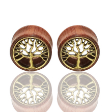 1 Pair Tree of Life Wood Expanders Piercing Fashion Ear Plug Flesh Tunnels Gauge Stretcher to Ear Saddle Body Jewelry
