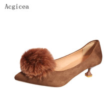 2017 New Autumn Sexy Black Women Pumps High Heels Fur Ball Club Shoes Woman Pointed Toes Spring Ladies Gentel Charming Footwear(China)